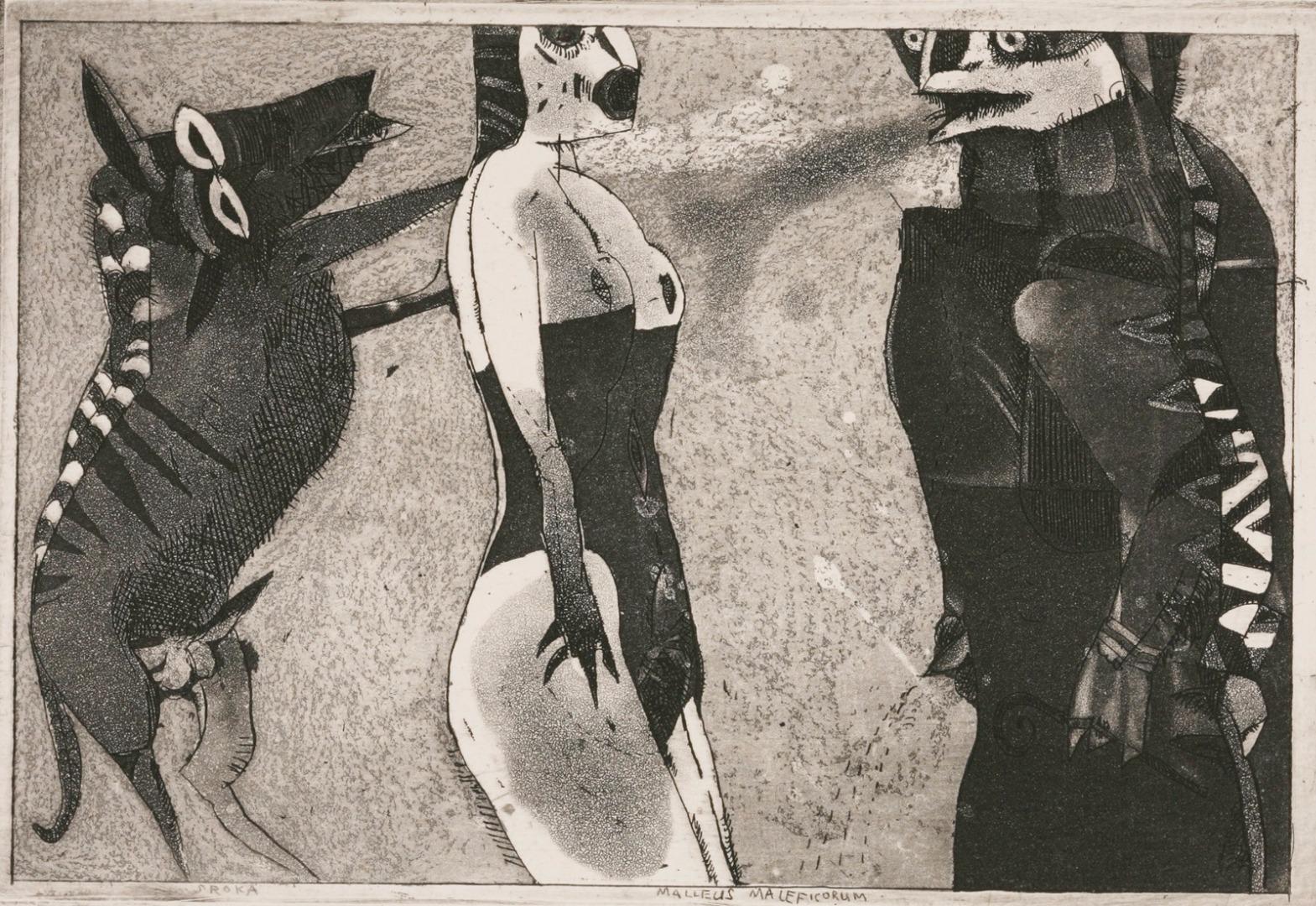 """Jacek Sroka, """"Nie bój się"""" (z cyklu """"Malleus Maleficarum""""),1983, akwaforta,12 x 17 cm"""