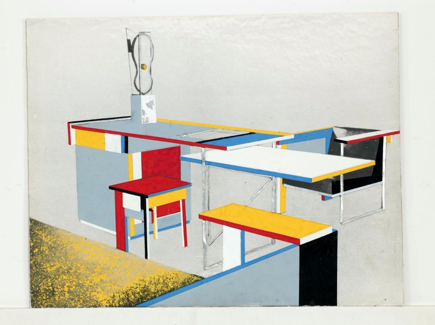 """Bohdan Lachert, projekt kompletu mebli z wyeksponowaną """"Rzeźbą abstrakcyjną (1)"""" Katarzyny Kobro [1924] na biurku, 1926, Muzeum Architektury we Wrocławiu"""