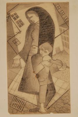 Eugeniusz Waniek, Kompozycja, 1931, ołówek, papier, 31 x 20,2 cm