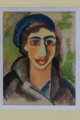 B.Stawiński, Portret Berty Grunberg, 1932, akwarela, papier, 18,7x14,5