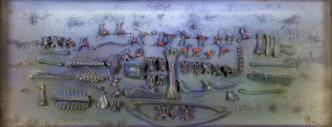 Jonasz Stern, Cobalt Composition, post-1970, collage/canvas, 23 × 57 cm courtesy of J.J. Grabscy
